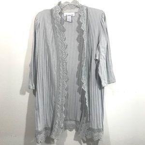 8474bfabdbd Roaman s gray cotton lace trim open cardigan 1X